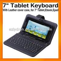 "7"" Tablet Leather Keyboard Case Cover Bracket USB+MINI USB for Tablet PC MID Apad Epad Russian words available"