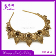 Leaves shape alloy headband tiara crown bridal wedding Gold Leaf Garland metal headband