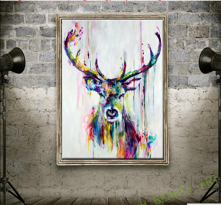 Watercolor HD Printed On Canvas Art Animal Canvas Painting Wild Elk Wall Pictures For Living Room Decorative Painting
