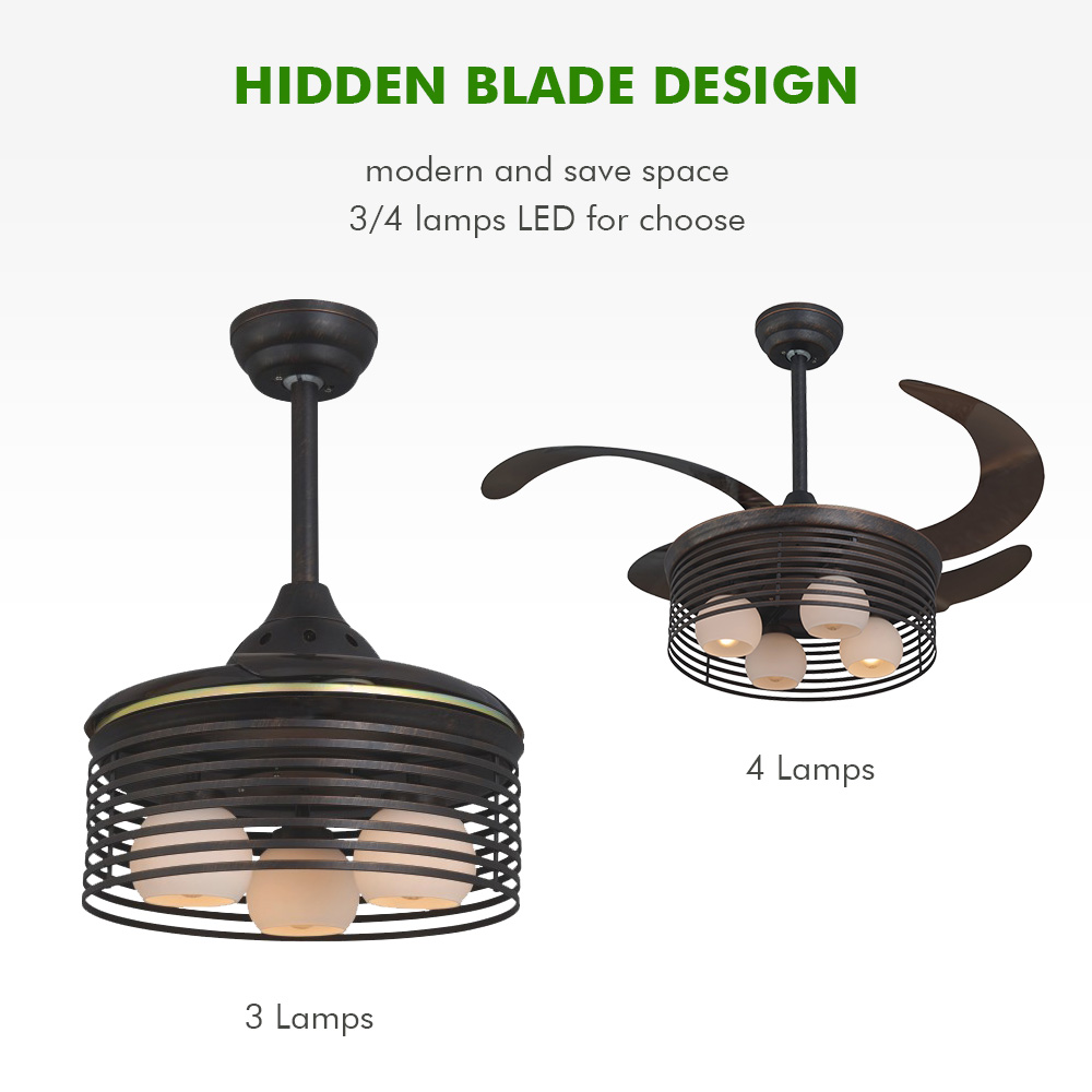 China OEM invisible blade ceiling fan light with hidden blades