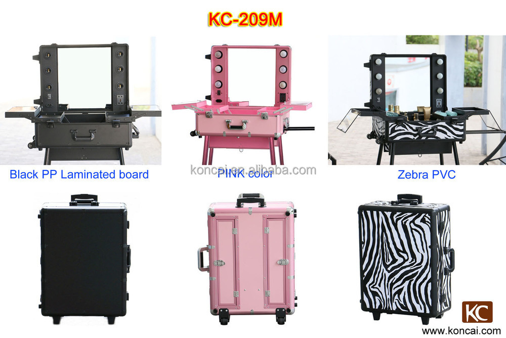 Professional lighted Trolley makeup case with legs