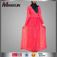 Dubai Abaya 2016 Red Abaya Modern Lace Dress fashion Design Muslim Women Clothing