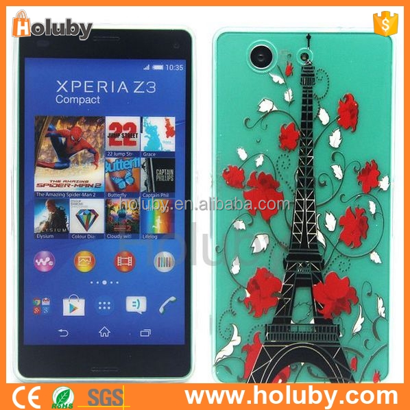 Ultra-thin clear crystal colored painting TPU Gel Soft Case Cover For Sony Xperia Z1 Z2 Z3 Z4 M4 M2 C3 E3 E4 T2 T3 Compact mini