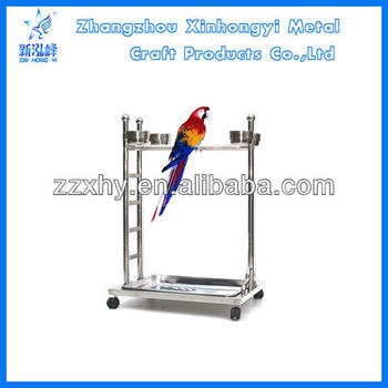 TZJ-02stainless steel play stand with wheels both for parrots and birds