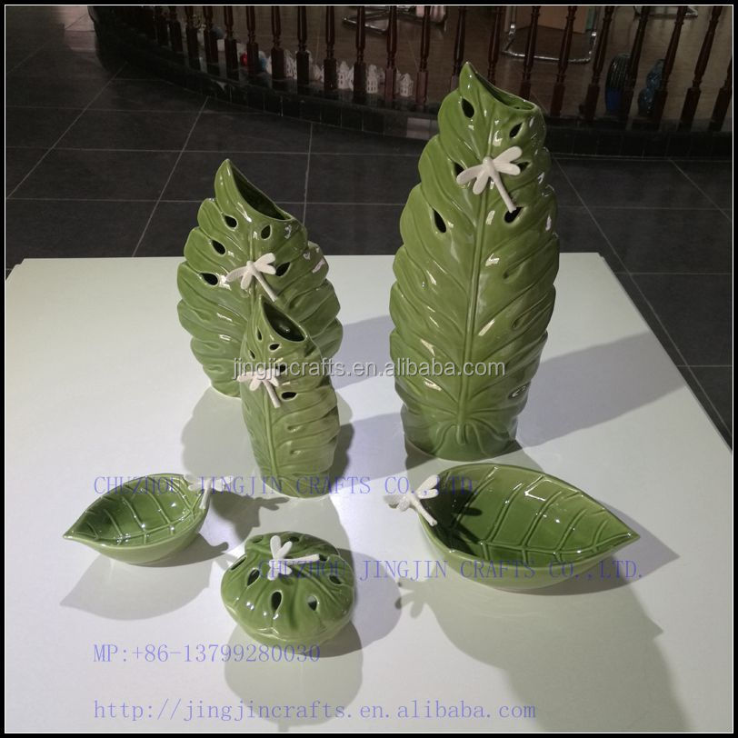 leaf shape green series exquisite glazed porcelain vase.jpg