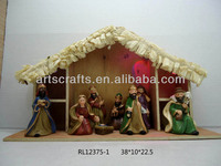 LED lighted pottery nativity set with wooden stable