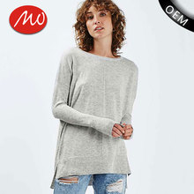 Plain long sleeve high-low hem casual woolen sweater new designs for ladies