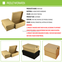 custom logo accept cheap recycled folding die cut plain brown paper shoes packaging box for sneaker