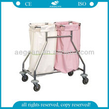 TOP quality! AG-SS019 2 waterproof dust bags medical linen trolley