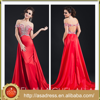 ARC-02 2015 Alibaba Fashion Formal Party Gown Heavy Beaded Rose Red Keyhole Back Full Length Stain Patterns Evening Dresses Free