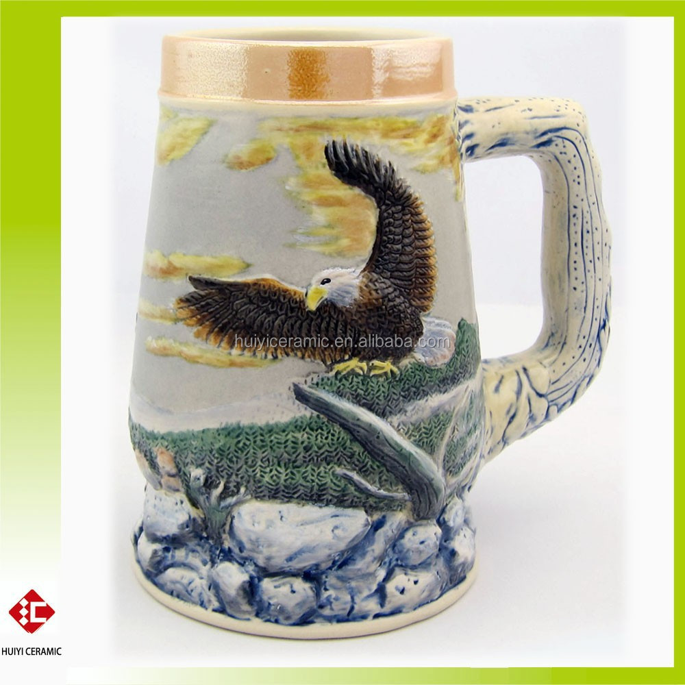 Hot Sale Eagle Relief and Hand Made Ceramic Beer Mug