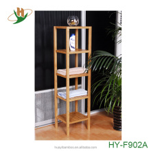 Free standing multifuctional bamboo corner storage shelf with 5 tiers