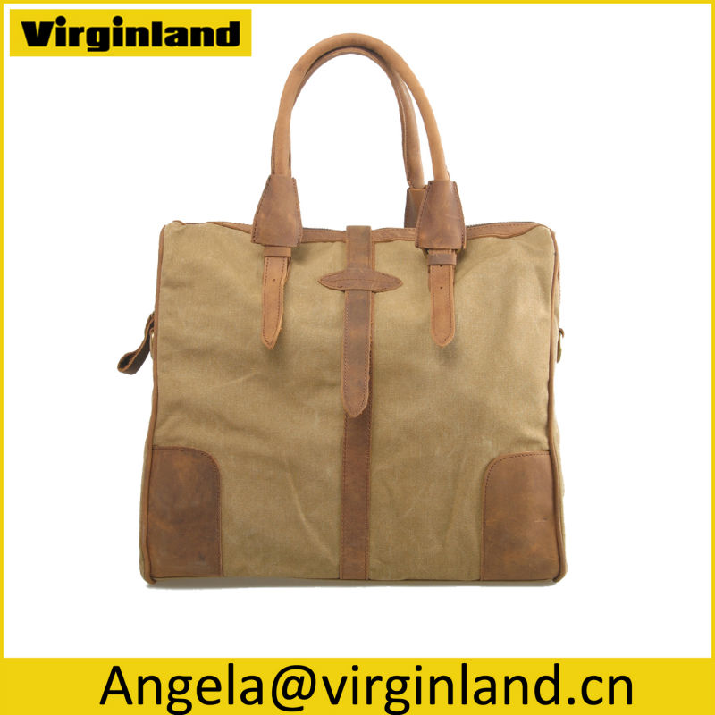 Top Quality Italy Handmade First Layer Leather Canvas Craft Tote Bags with Brand Manufacturer