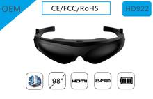"Hot Wholesale 3D 98"" 854*480 <strong>video</strong> glasses with HD interface head mounted display"