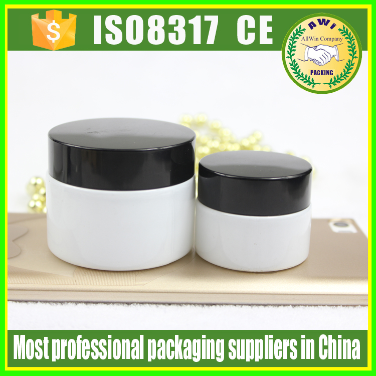 wholesale 15g ceramic cosmetic jars with metal lids 15ml milk white glass jar