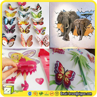 For 5d Layered Pages Chipboard kid room sunboy art wallpaper home decor decal 3d flower butterfly pvc wall sticker