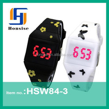 2015 hot style led touch screen binary code silicone watch