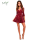 Elegant Wine Red Crushed Velvet Wrap Skater Dress