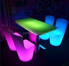 Wholesale white plastic nightclub led chair and table color changing led table chairs