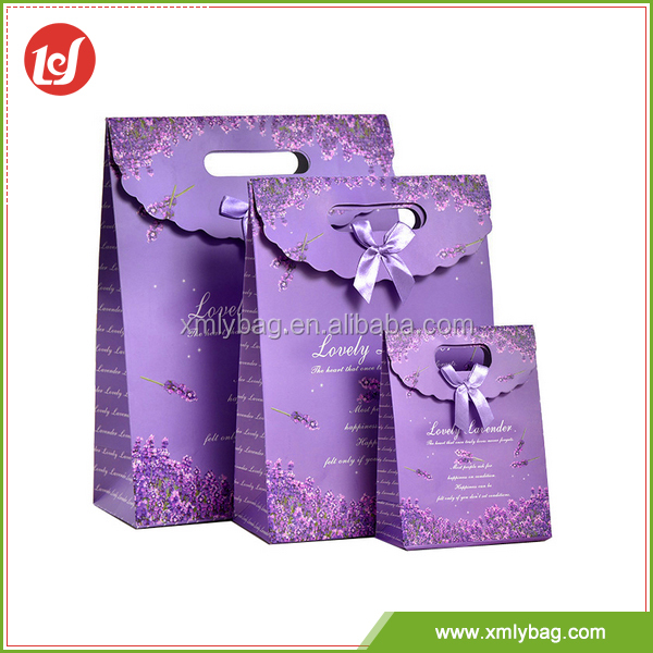 Fantasy purple customized eco-friendly fashion art gift paper bag