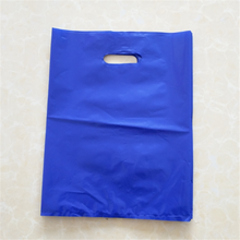 "LDPE material, size 9x12"", 1.75 mil, opaque purple merchandise bag with die cut handle"