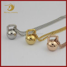 Top Selling Christmas Fitness Kettlebell Pendant Necklace Charm Jewelry For Sport Gym Gift