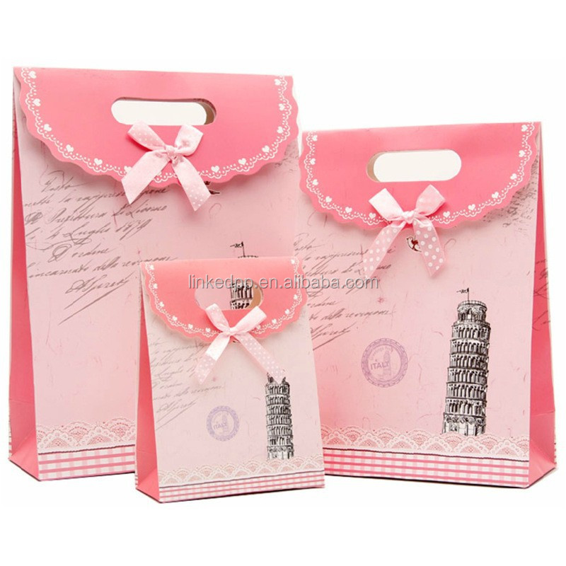 Paper Gift Pouch with ribbon bow tie - custom designing