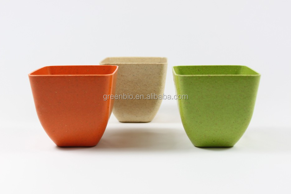 Fresh&Natural Appearance Bamboo Fiber Garden Plant Pot With Saucer,Colorful Indoor&Outdoor Flower Pot