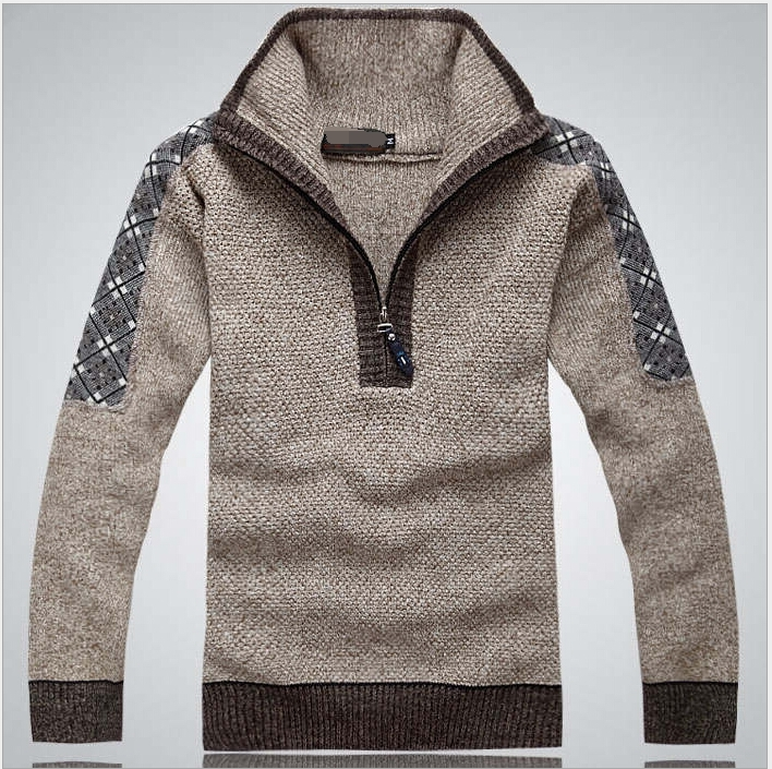 mens plus size fashion business knitting wear of pullover with thick stand collar