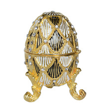 Modern faberge gold egg Faberge Egg Box Crystals Trinket ring Box Easter egg collectible gifts treasure box