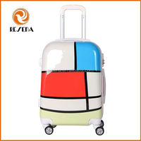 Printing Drawing Custom Trolley Travel Hard Shell ABS PC Luggage