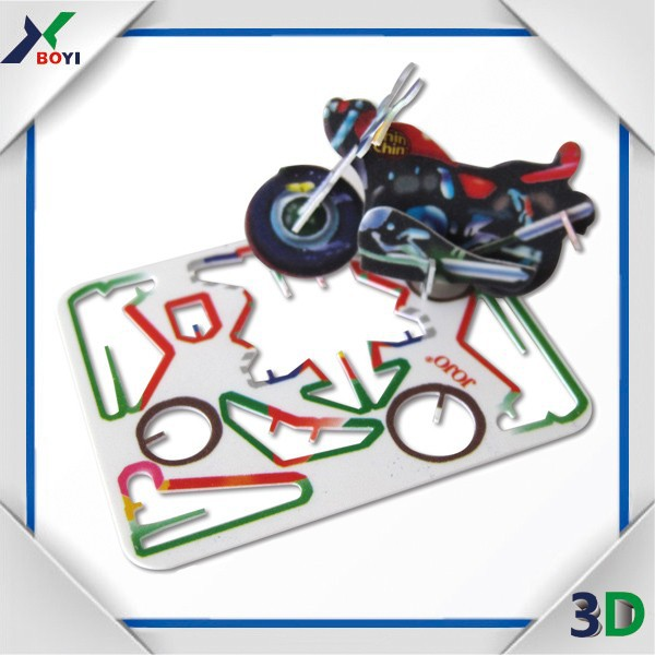 2016 custom kids diy puzzle toy 3d pp plastic playing card motor car games card