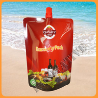 laminated releasable retort pouch with spout , ketchup drinks standing liquid packaging bag