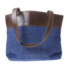 European Market Shoulder Denim Hand Bag Unisex Shopper Shoulder Handbag Women Simple Casual Denim Tote Hand bag Denim Purse