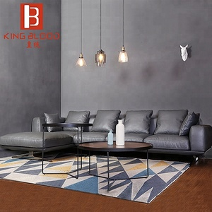 modern grey latest corner real leather sofa living room design sofa