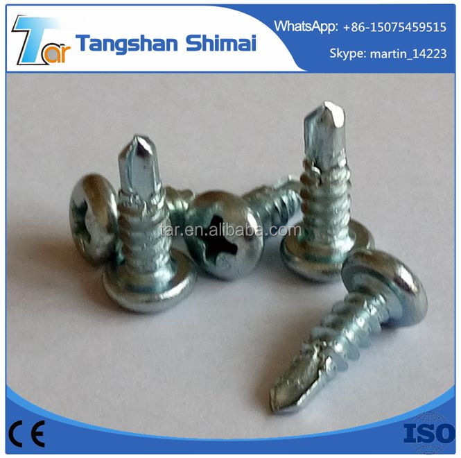 China hardened bottom price pan head self drilling screw high precision cross recessed pan head screw and plain