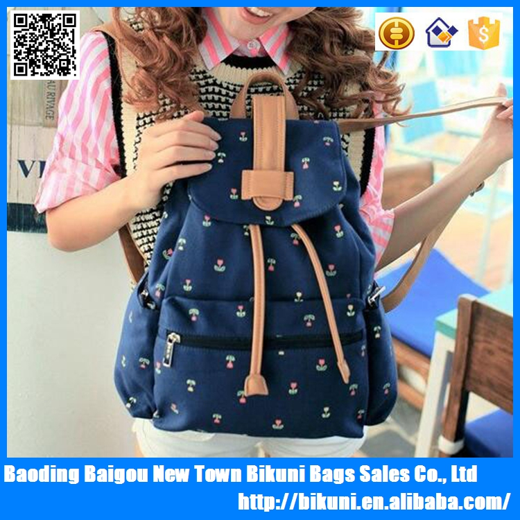 Latest beautiful flower printing cheap drawstring canvas bag school backpack for girls