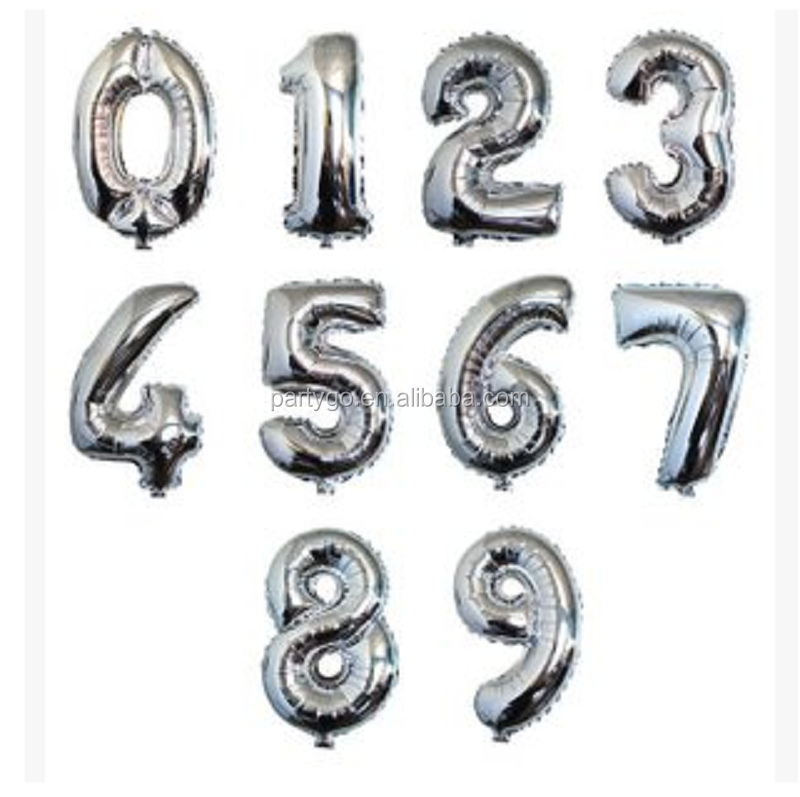30 inch number balloons silver foil helium Balloon for party decoration globos