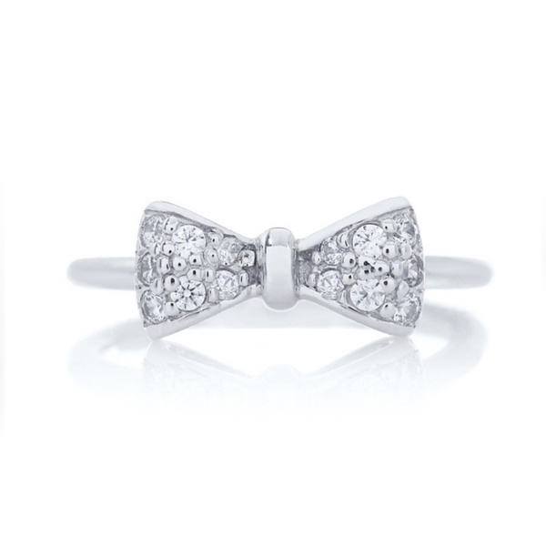Fashion 925 sterling silver bow tie shape ring with cz stone