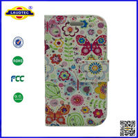 for samsung galaxy trend duos flower pattern colorful wallet case,stand phone pouch cover Laudtec