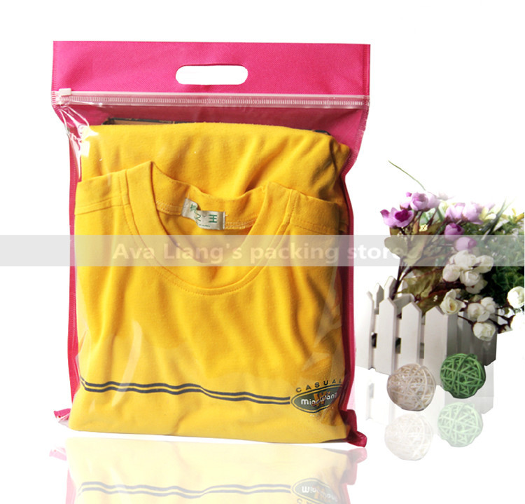 20pcs/lots 30x35+5cm Non-woven Bags With Zip Lock For Clothes Self Sealing Packaging/ half clear half non-woven bag with handle