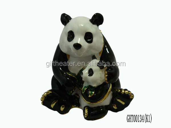 Excellent China mom and baby pandas metal jewelry box enamel trinket box