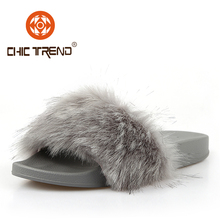 2017 latest design flush fur slide slippers pvc outsole rabbit fur slippers cheap women injection shoes colorful shoes for women