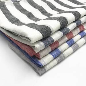 Pure Linen Fabric, Yarn Dyed Color Stripes Shirting Fabrics, High Quality Row Linen Fabrics, XZ-3111