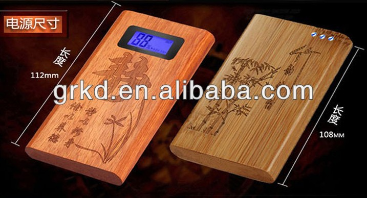2014 new products 5200mah wood power bank with lcd screen