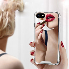 Luxury Reflect Girly Cute TPU PC Back Protect Cover Case Mirror Phone Cases for iPhone 7 7 Plus X 6 6S 8 Plus