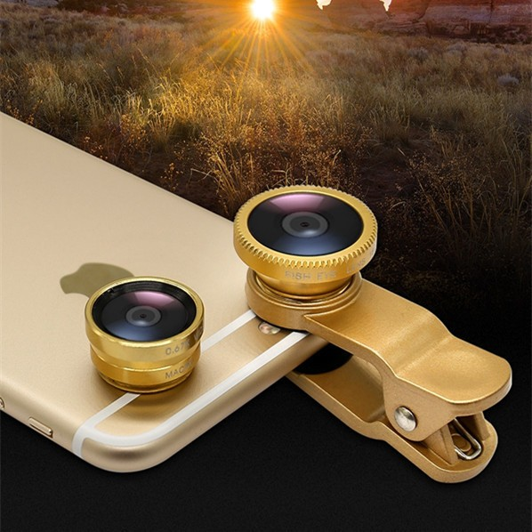 Hot sale universal 3 In 1 set 180 degree wide Angle Macro Fisheye Mobile Phone Camera Lens For mobile phone