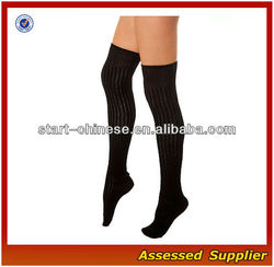 2013 New Fashion Ribbed Knitted Knee High Black Girls Socks/Vintage Janpanese Sox for School