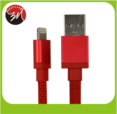MFI Certified 2.4A Flat Cable Braided Nylon USB Cable Cord for iPhone