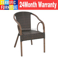 Dark Brown Rattan Restaurant Patio Stack Chair With Bamboo-Aluminum Frame Outdoor chair aluminum powder coated synthetic